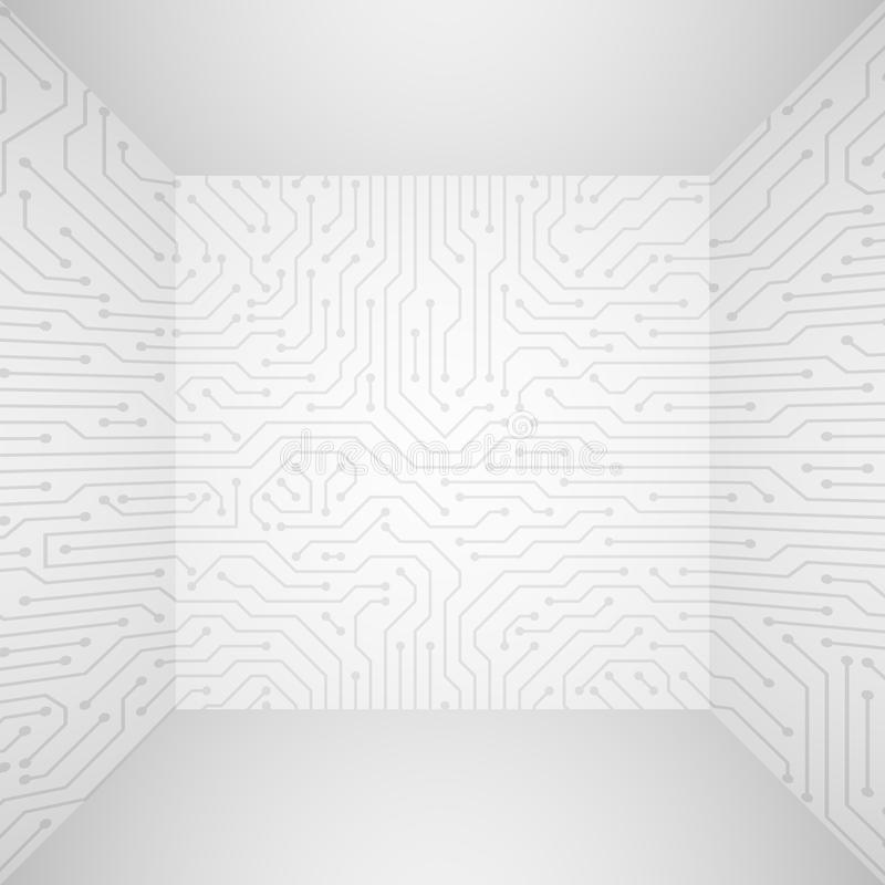 Abstract modern white technology 3d vector background with circuit board pattern. Information tech company concept stock illustration