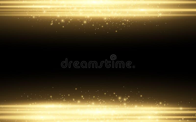 Abstract modieus lichteffect voor een zwarte achtergrond Gouden gloeiende neonlijnen in motie Gouden lichtgevend stof en glans Fl vector illustratie