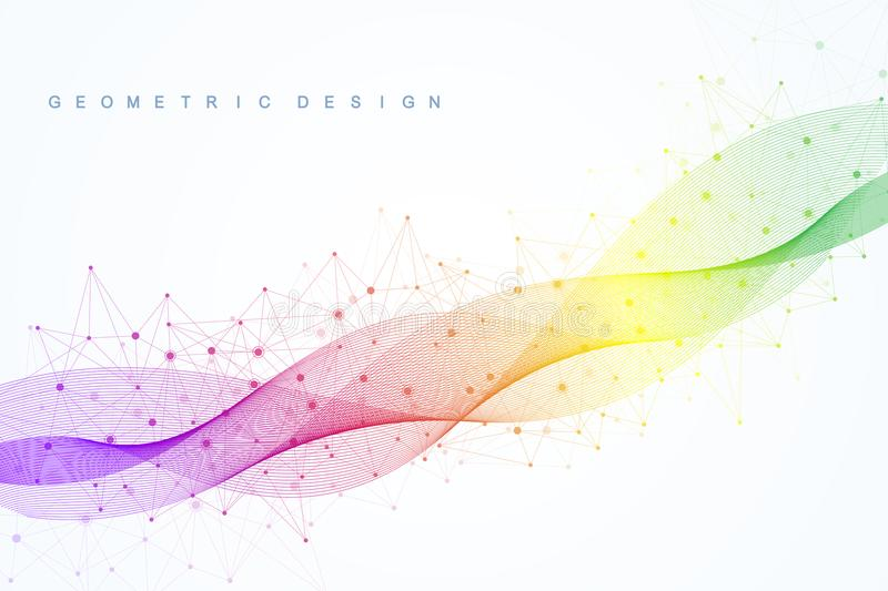 Abstract molecular network pattern with dynamic lines and points. Sound, flow wave, sense of science and technology. Graphic design. Vector geometric royalty free illustration