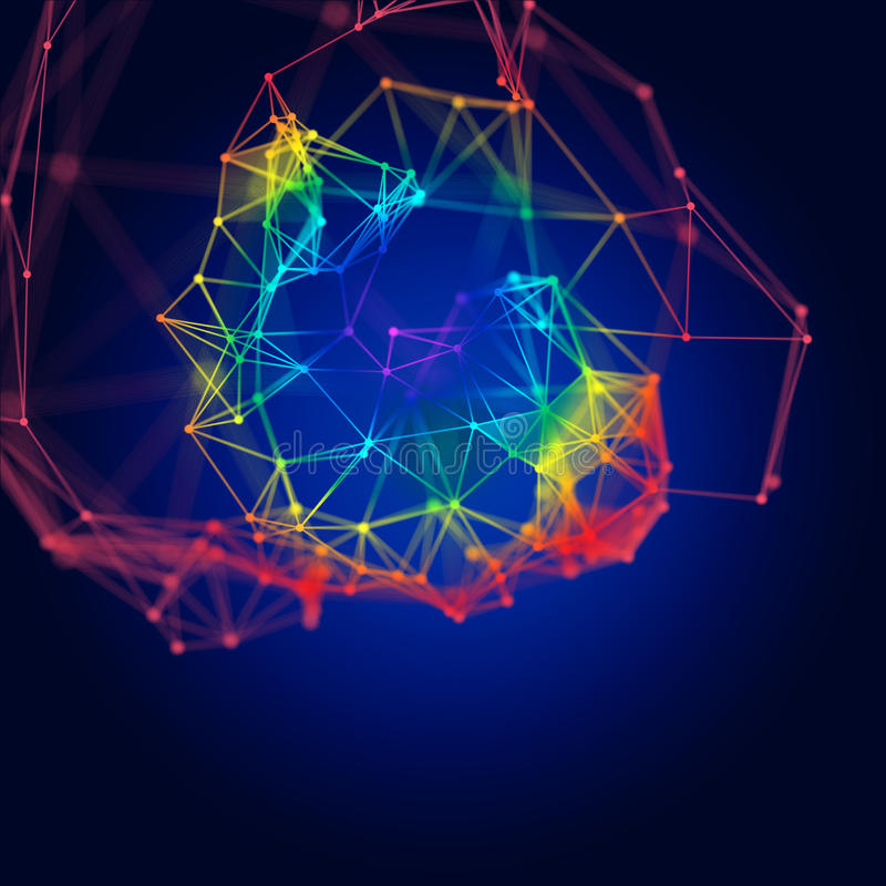 Abstract molecular structure on dark background stock illustration