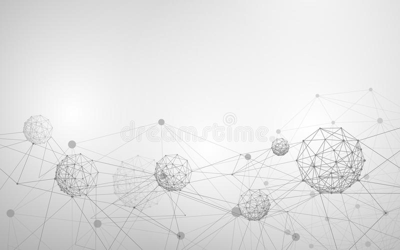 Abstract molecule and atom structure. White and grey Science or medical background. vector illustration