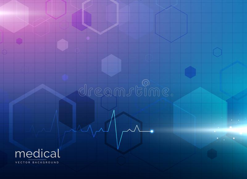 Abstract molecule medical healthcare or pharmacy blue background vector illustration