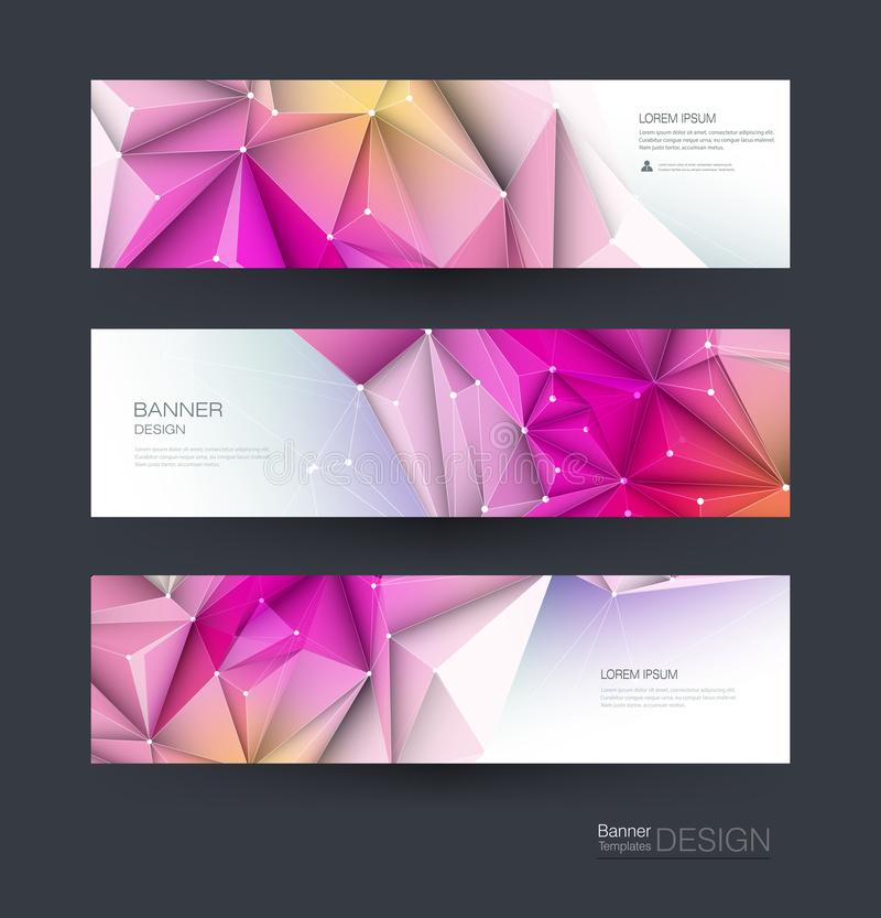 Abstract Molecules banner set. Modern science, chemistry technology concept for website, business, web banner, template or brochu royalty free illustration