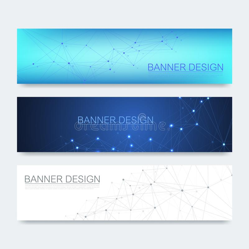 Abstract molecules banners set with lines, dots, circles, polygons. Vector design network communication background vector illustration