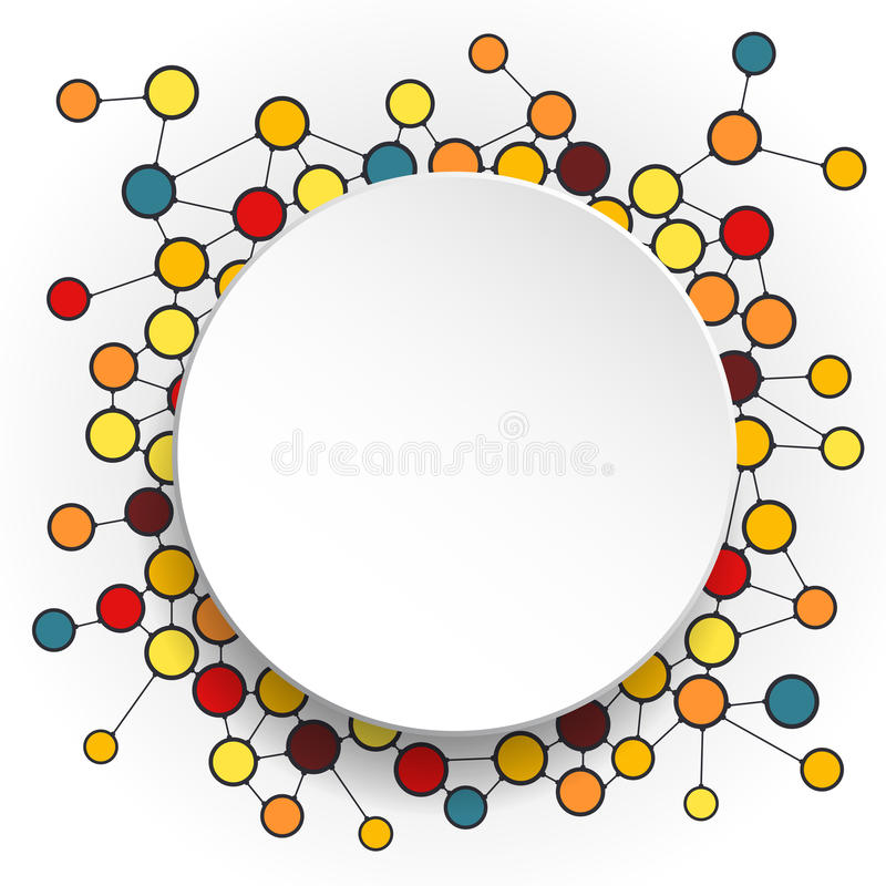 Abstract molecules and 3d paper circles with Blank space for your content. Template, communication, business, network and web design. Vector illustration stock illustration