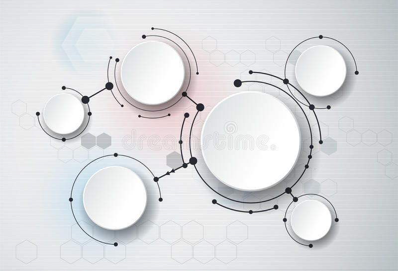Abstract molecules and 3d paper, integrated circles. Blank space for your design. Template, communication, business, network and web design. Vector vector illustration