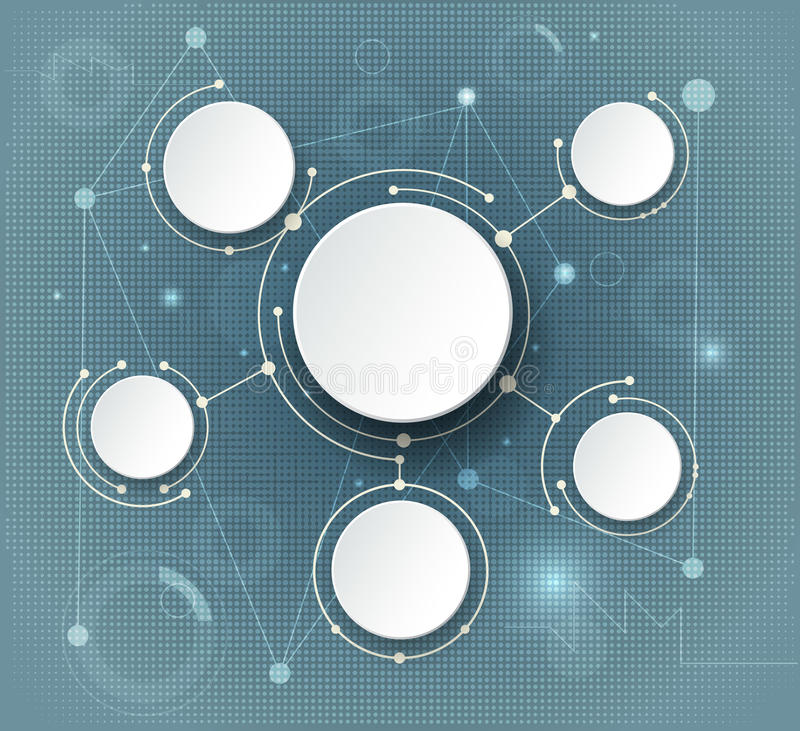 Abstract molecules and global social media communication technology concept stock illustration