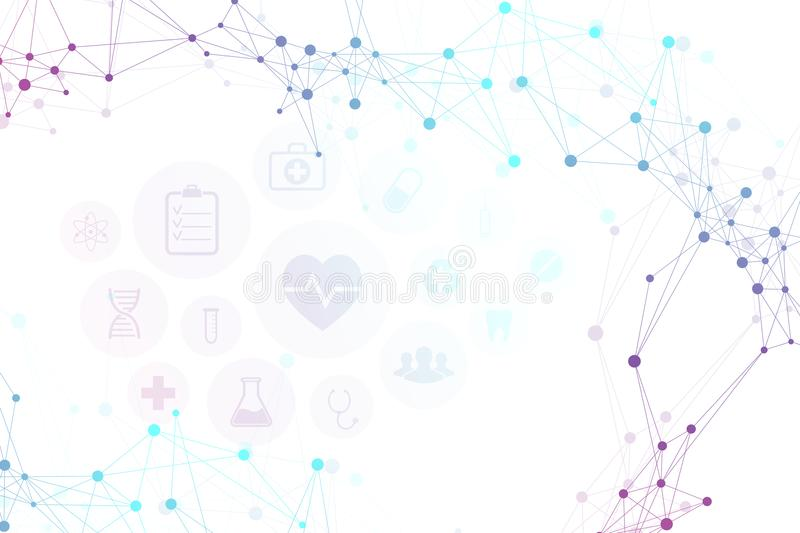 Abstract molecules medical background with modern icons, technology network concept. Vector illustration. royalty free illustration
