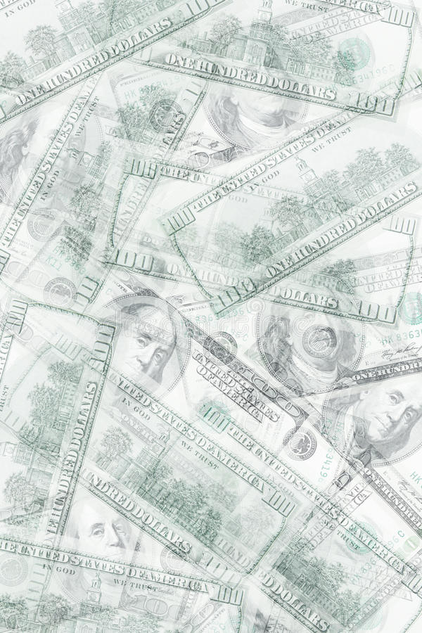 Abstract money background. From translucent one hundred dollars stock images