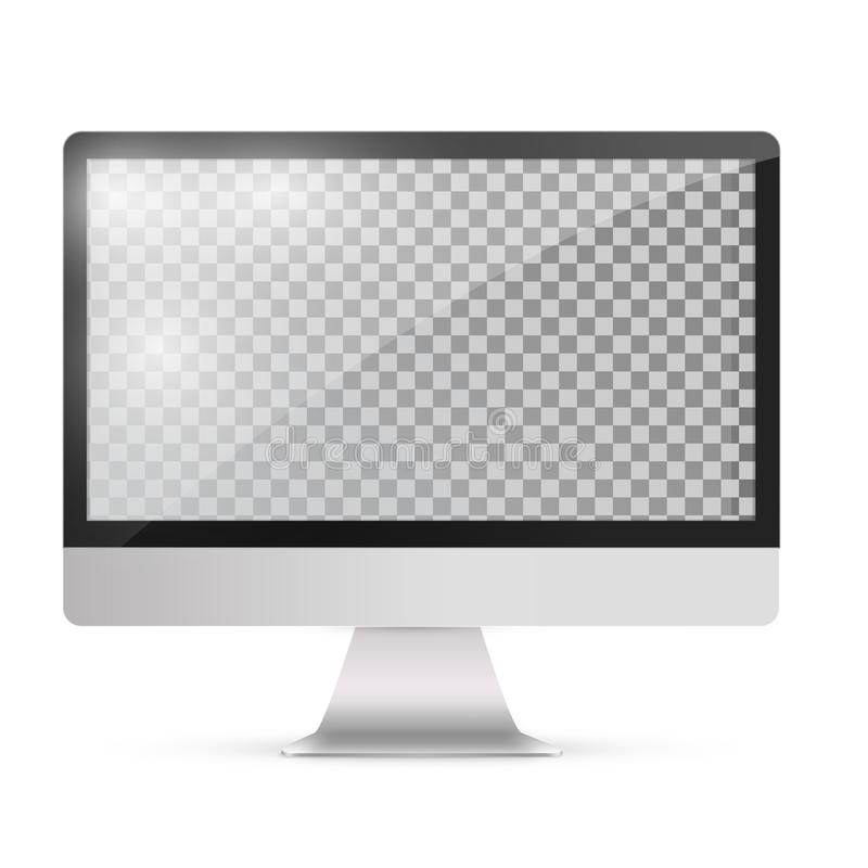 Abstract monitor in imac style black color with blank touch screen isolated on the white background. Abstract monitor.Silver color with black blank touch screen stock illustration