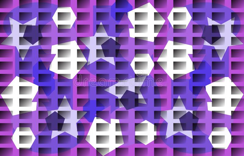 Vector background in white blue purple tones. Abstract monochromatic pattern. Irregular polygons, gradient rectangles. Vector illustration. White, blue, purple royalty free illustration
