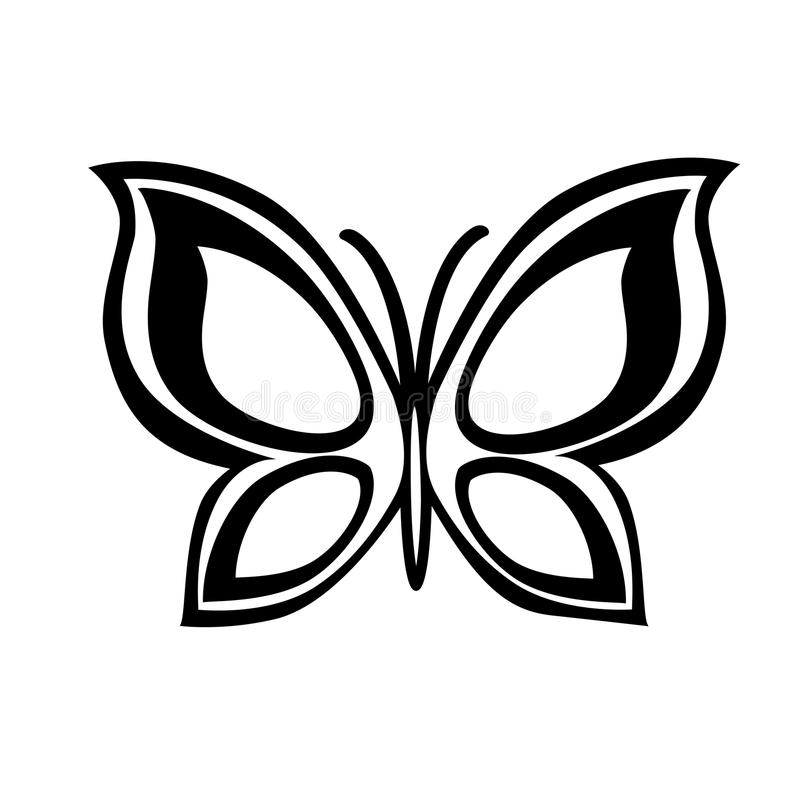 Abstract monochrome butterfly. Abstract monochrome butterfly isolated on a white background. Vector illustration for sketches, stencils. Tattoo vector illustration