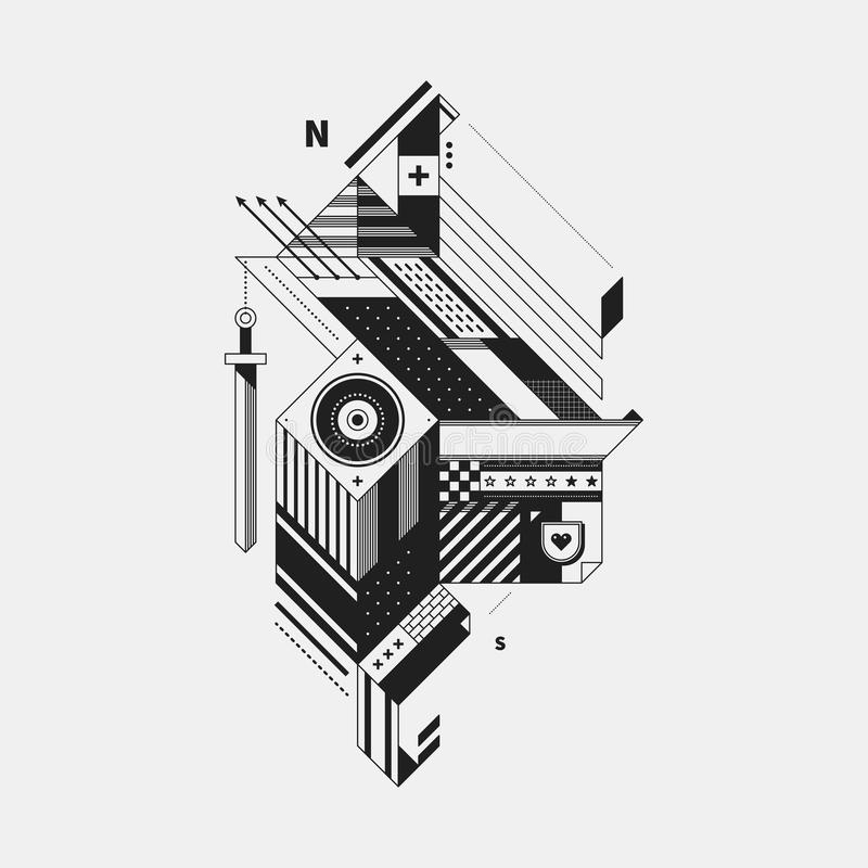 Abstract monochrome creature. On white background. Style of cubism and constructivism. Useful for prints and posters vector illustration