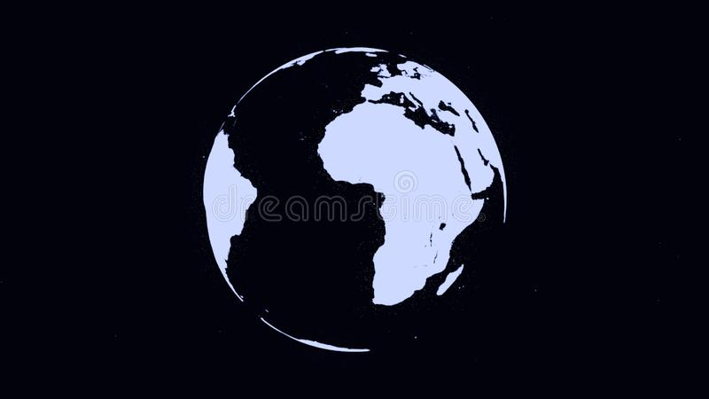 Abstract monochrome Earth planet rotating, seamless loop. Digital terrestrial globe spinning, black and white. royalty free illustration