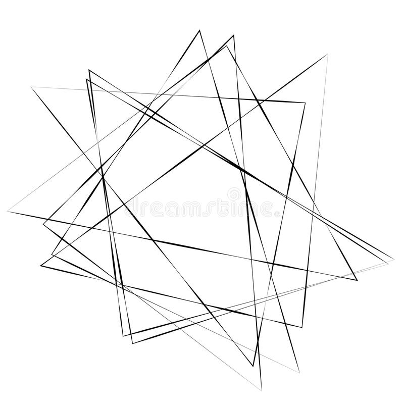 Abstract monochrome element with thin intersecting lines vector illustration