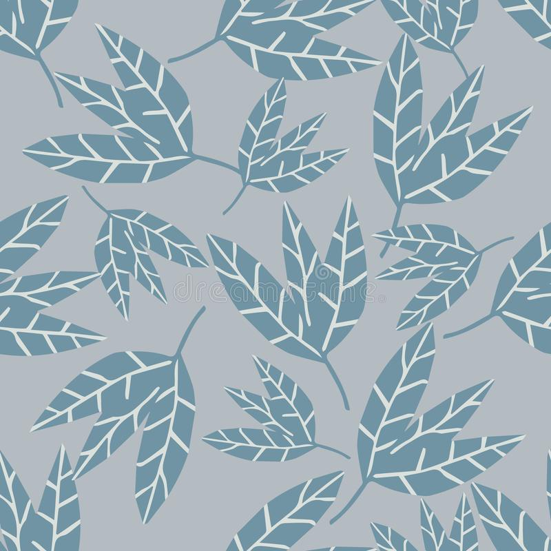 Abstract monochrome leaves seamless pattern on gray background vector illustration