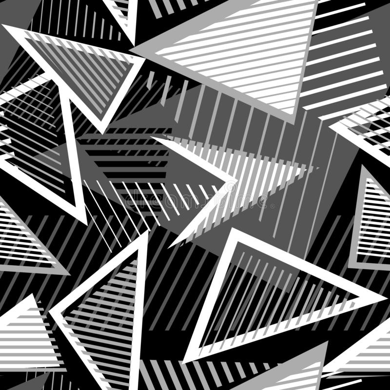Abstract monochrome seamless pattern. Sport style texture with triangles, lines royalty free illustration
