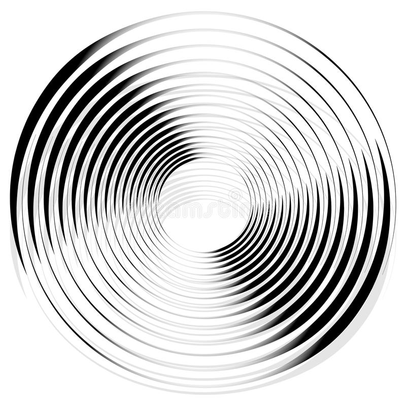 Abstract monochrome spiral, vortex with radial, radiating circle vector illustration
