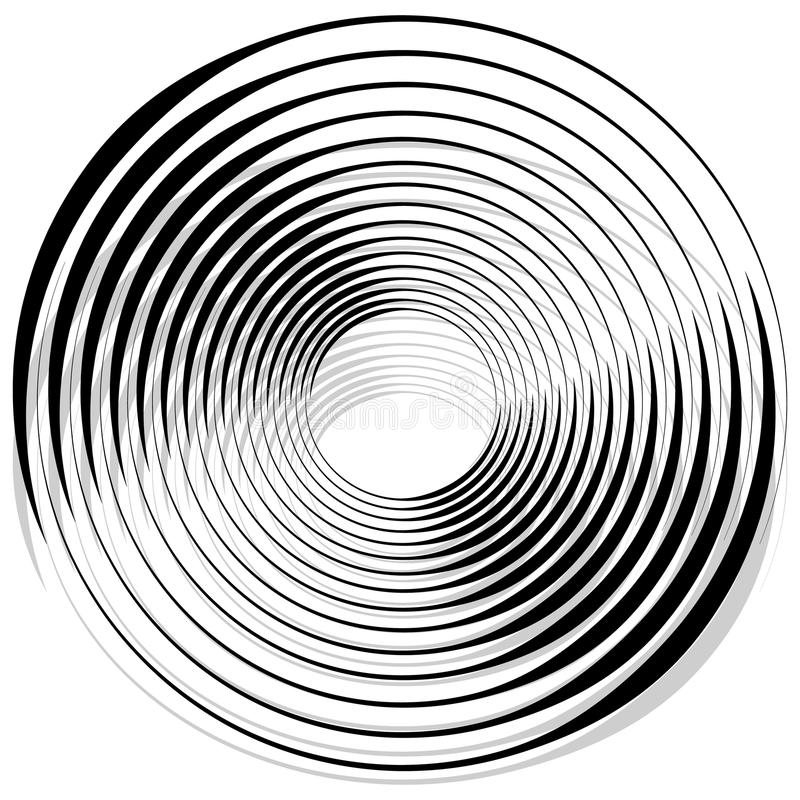 Abstract monochrome spiral, vortex with radial, radiating circle. S. Rotating circles. - Royalty free vector illustration royalty free illustration