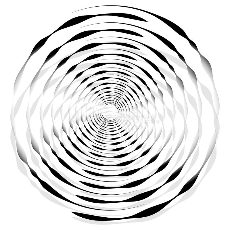 Abstract monochrome spiral, vortex with radial, radiating circle. S. Rotating circles. - Royalty free vector illustration vector illustration