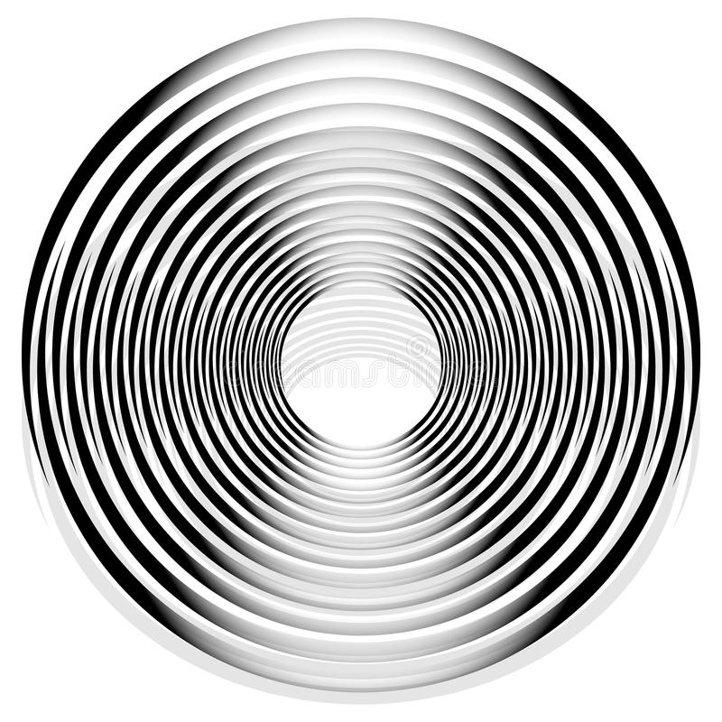 Abstract monochrome spiral, vortex with radial, radiating circle. S. Rotating circles. - Royalty free vector illustration stock illustration
