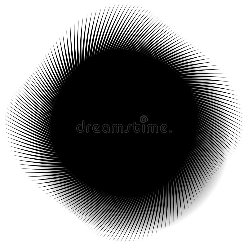 Abstract monochrome spirally, spiral element. Twisted radial shape. Colorless abstract graphic. - Royalty free vector illustration stock illustration