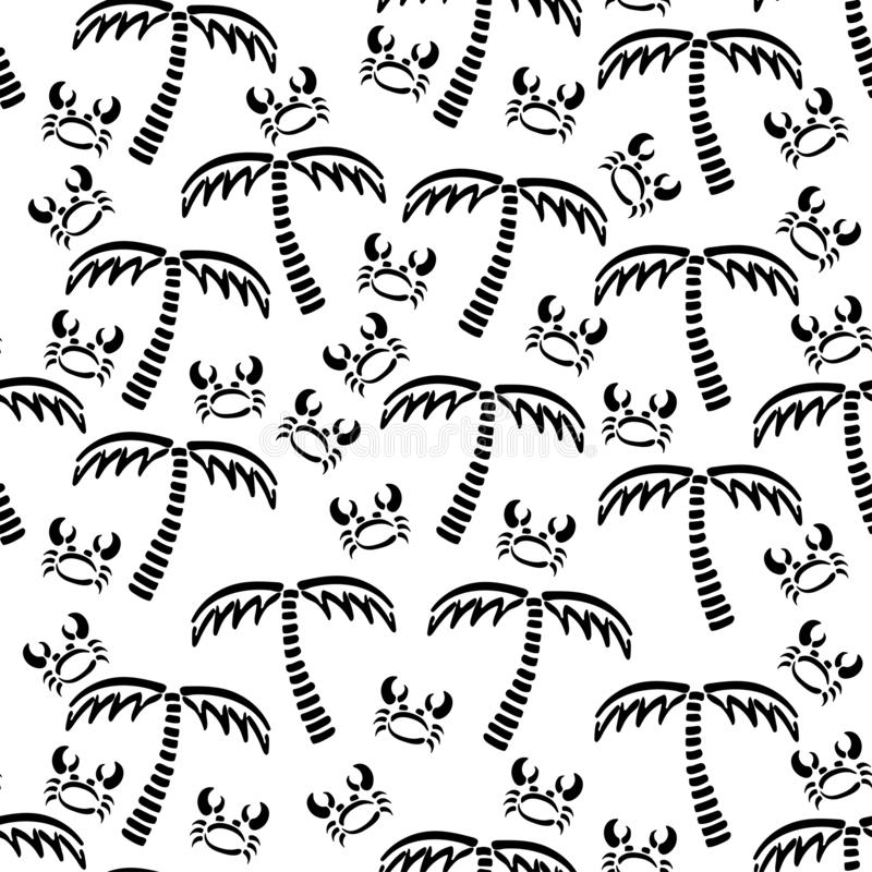 Abstract monochrome vector seamless summer pattern. Fabric textile with exotic island. Cute doodle summer pattern with vector illustration