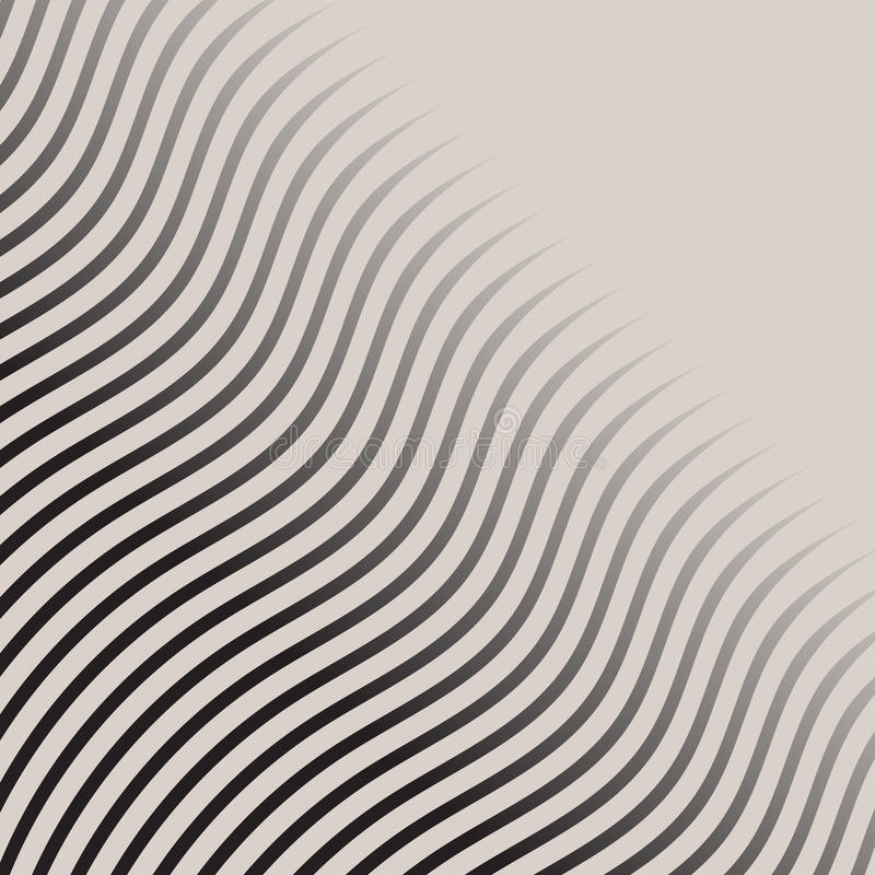 Abstract monochrome wave lines pattern striped halftone vector. Background stock illustration