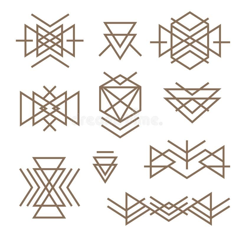 Abstract monotone geometric shapes with variety of pattern in aztec - mayan style t-shirt, corporate business or technology id vector illustration