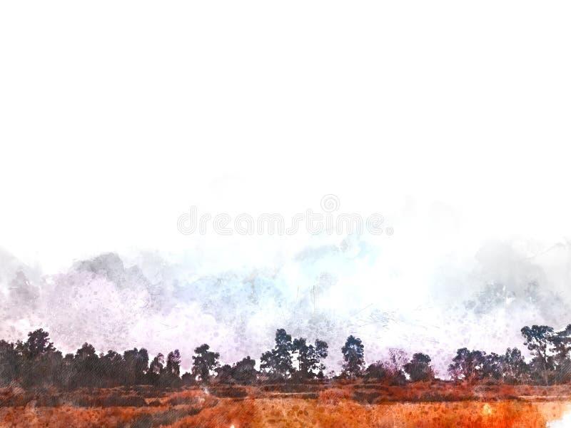 Abstract mooi boom en Gebied op kleurrijke waterverf het schilderen achtergrond vector illustratie