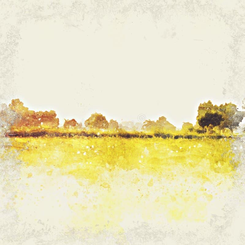 Abstract mooi boom en landschap op kleurrijke waterverf royalty-vrije illustratie