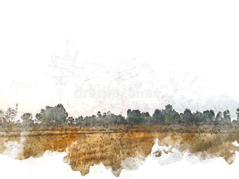Abstract mooi Gebiedslandschap op kleurrijke waterverf het schilderen achtergrond vector illustratie