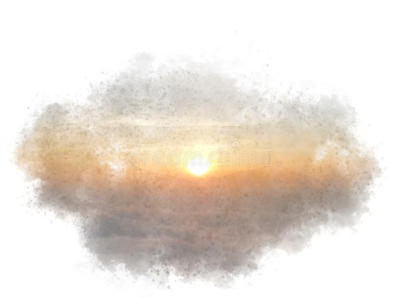 Abstract mooi zonlicht, zonsopgangwaterverf het schilderen achtergrond royalty-vrije illustratie