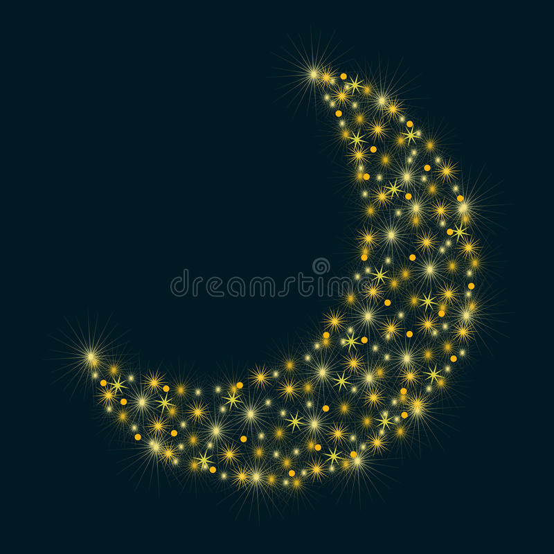 Abstract moon with stars and sparkles. Vector vector illustration