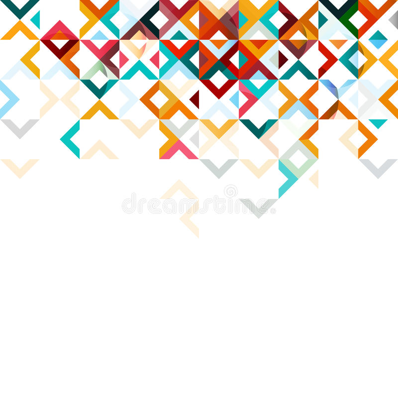 Abstract mosaic mix geometric pattern design, colorful tone on top part stock illustration