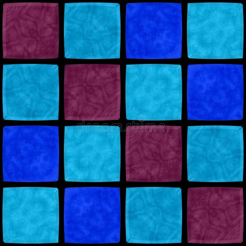 Abstract blue purple black mosaic tiles in symmetrical pattern stock illustration