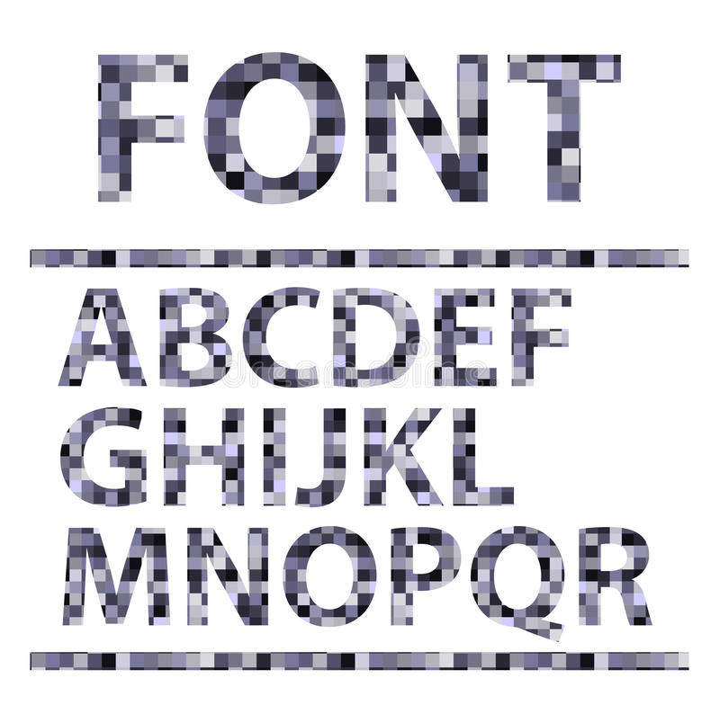 Abstract mosaics alphabet set. Font. Vector illust royalty free illustration
