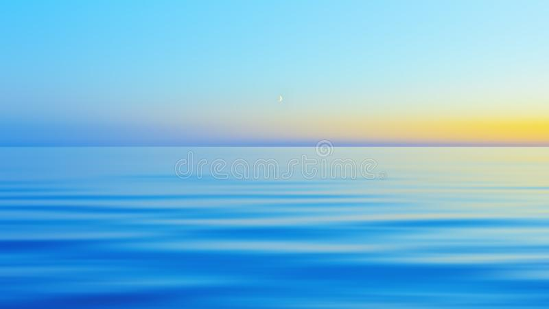 Abstract Motion Blurred Blue With Yellow Night Seascape Background. The half moon in a clear blue sky after yellow sunset over a calm flowing water surface in stock image