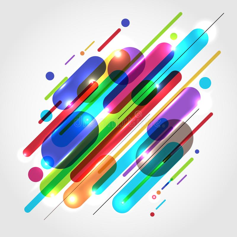Abstract motion dynamic composition made of various colored rounded shapes lines in diagonal rhythm minimal style. royalty free illustration