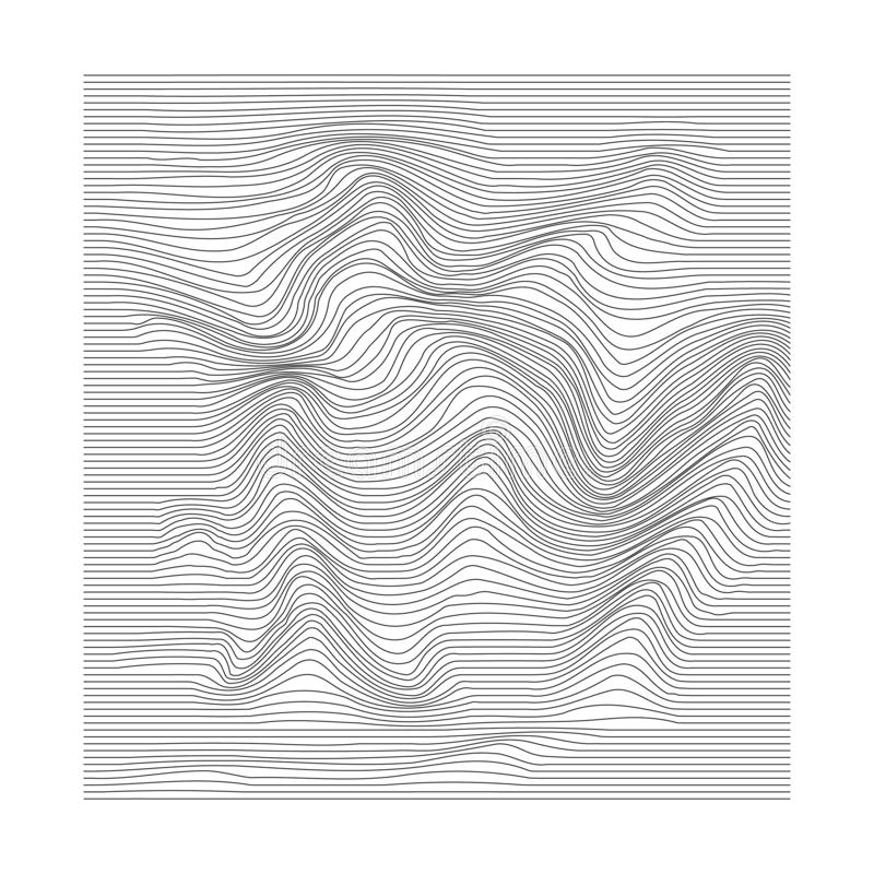 Abstract motion rippled surface. Stripe deformation background. Distorted wave monochrome texture. Vector vector illustration