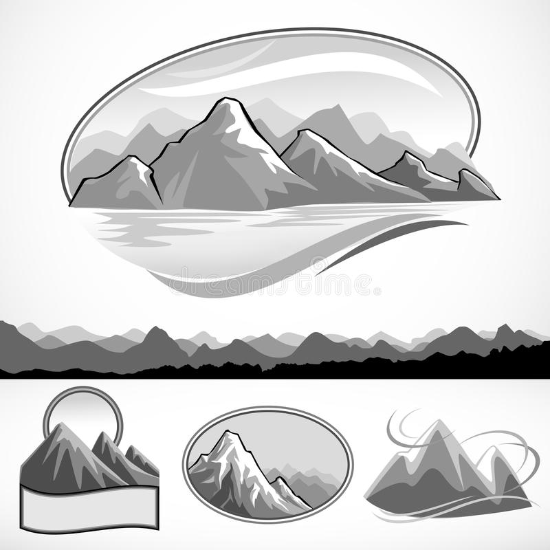 Abstract mountain and hills B/W symbol set stock illustration