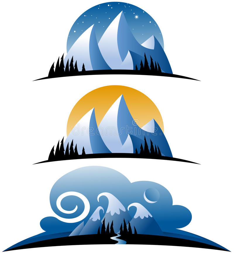 Abstract Mountain Icons royalty free illustration