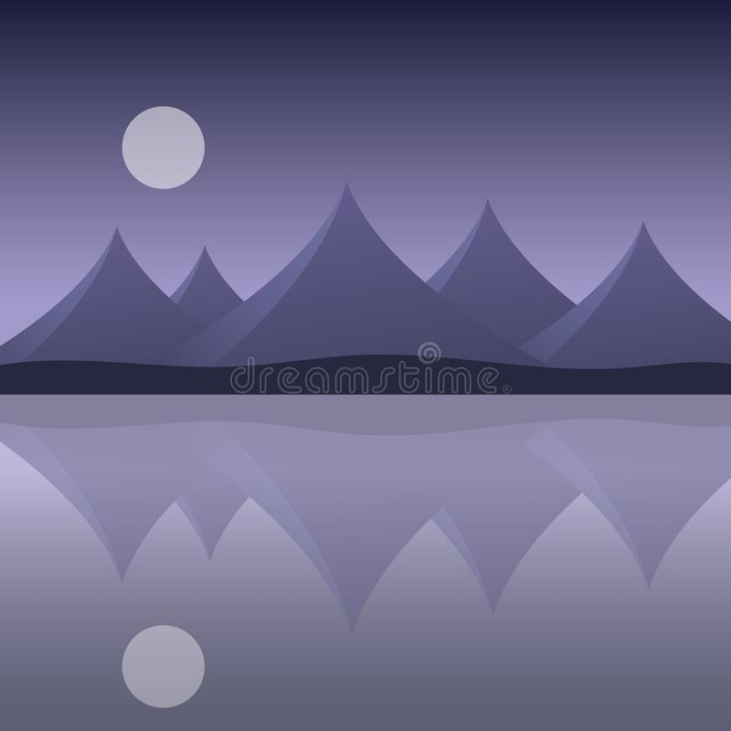 Abstract mountain landscape on the sea shore with reflection in royalty free illustration