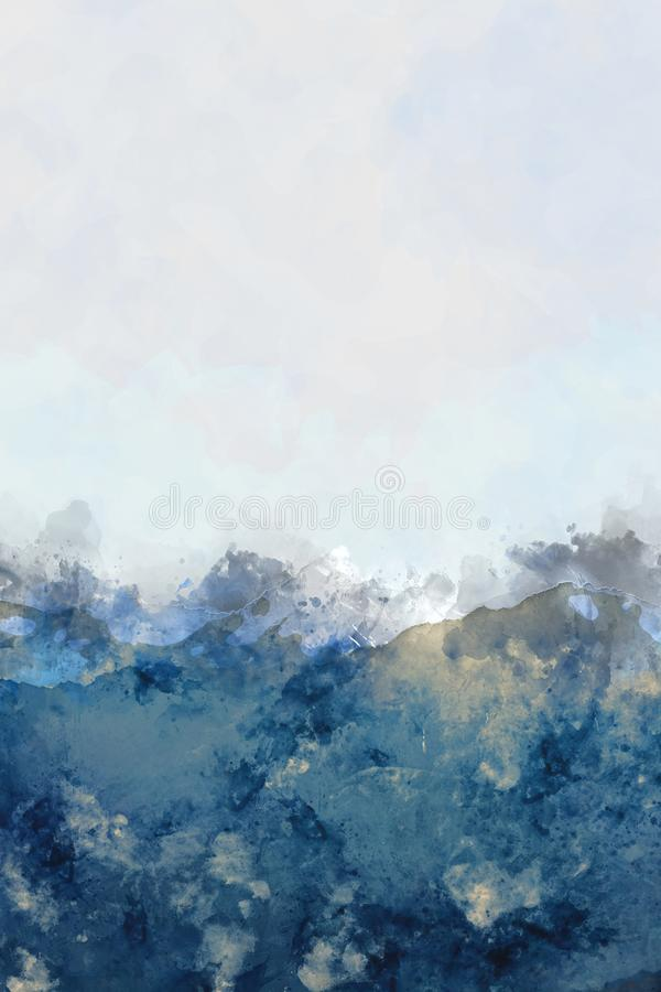 Abstract mountain peaks watercolor painting in blue, digital ill stock illustration