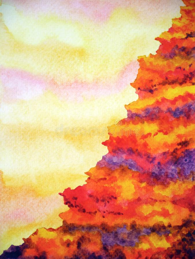 Abstract mountain volcano hell cliff watercolor painting illustration royalty free stock image