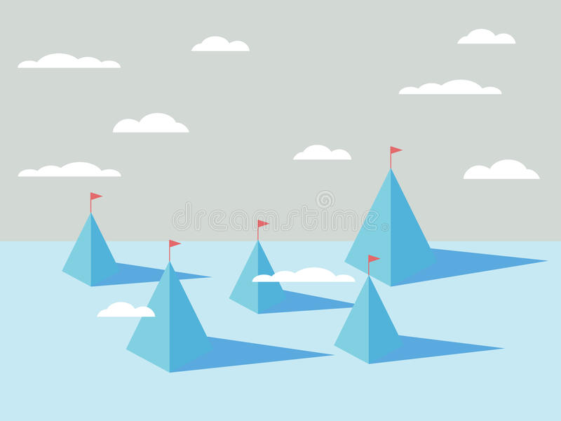 Abstract mountains backgrounds with flags on tops. Business concept of success, goals, objectives, targets. Eps10 vector illustration royalty free illustration