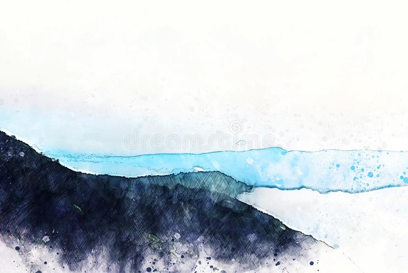 Abstract mountains hill in Thailand on watercolor illustration paintin vector illustration