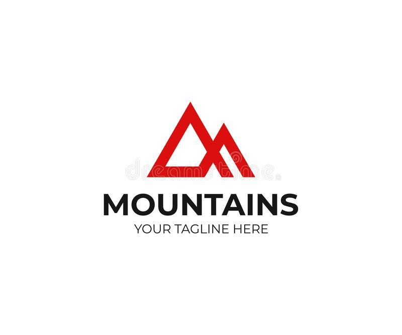 Abstract mountains logo template. Triangle mountain peak vector design stock illustration