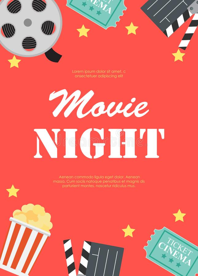 Abstract Movie Night Cinema Flat Background with Reel, Old Style Ticket, Big Pop Corn and Clapper Symbol Icons. Vector royalty free illustration
