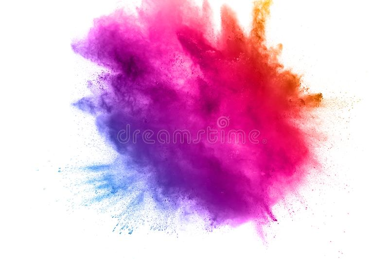 Pink blue color powder explosion on white background royalty free stock photos